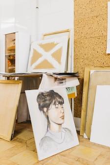 Retrato de mujer en estudio