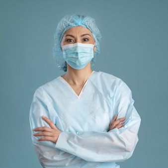 Retrato, de, doctor, con, médico, máscara