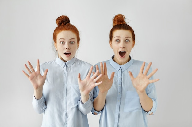 Retrato de dos chicas pelirrojas asombradas con moños, vestidas con ropa similar