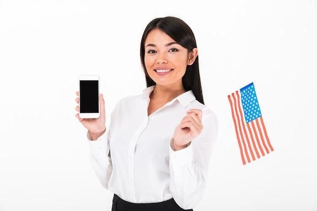 Retrato de una empresaria asiática feliz