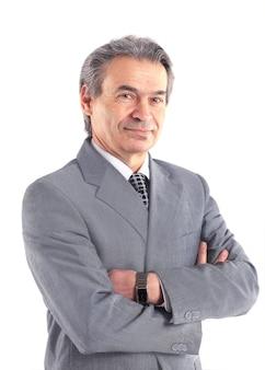 Retrato de un empresario aislado sobre fondo blanco.