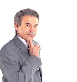 Retrato de un empresario aislado sobre fondo blanco. Foto Premium