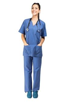 Retrato de enfermera aislado en blanco, longitud completa