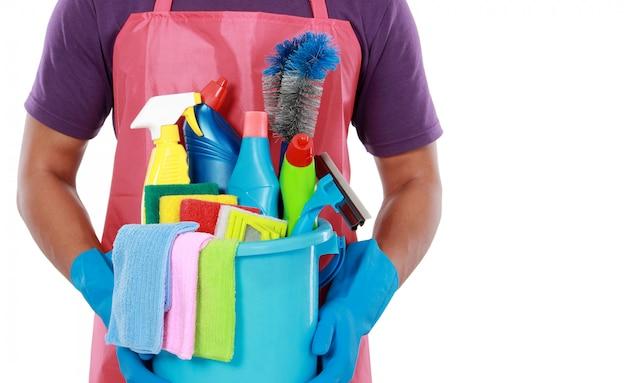 Retrato de equipos de limpieza.