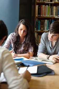 Retrato de estudiantes revisando para los exámenes