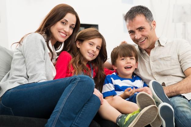 Retrato, de, familia feliz