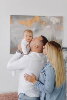Retrato, de, un, familia joven