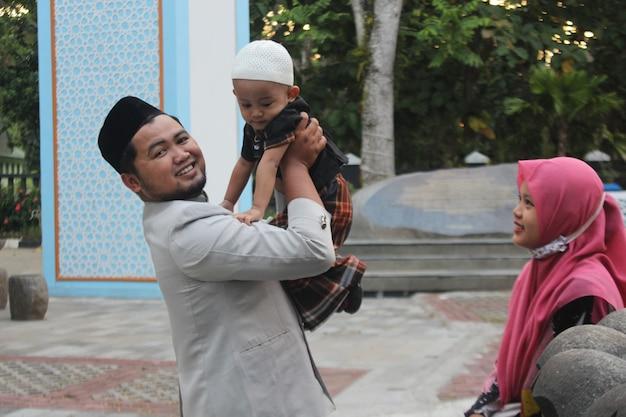 Retrato de familia musulmana