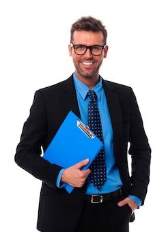 Retrato, de, feliz, hombre de negocios