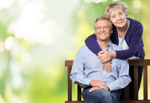 Retrato, de, feliz, pareja mayor, sonriente