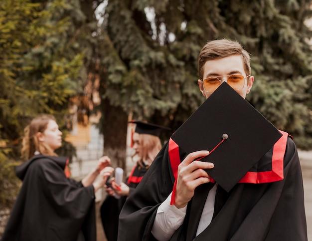 Retrato, graduado, niño