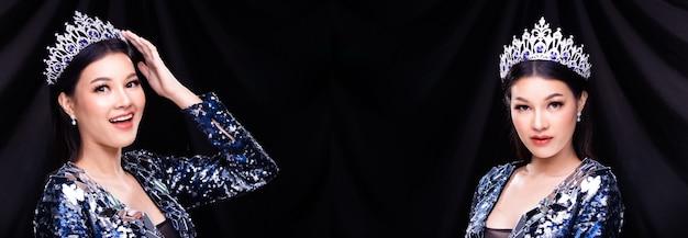 Retrato de grupo de collage del concurso de belleza miss pageant en vestido de fiesta de noche de lentejuelas azules con corona de diamantes de luz brillante