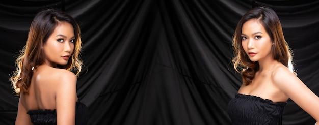 Retrato de grupo de collage de mujer asiática de los años 20 tiene estilo de pelo negro y maquillaje de moda, usa chaqueta de patrón de leopardo sobre espacio de copia de fondo de cortina negra