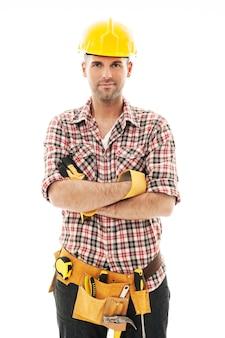 Retrato de guapo trabajador de la construcción