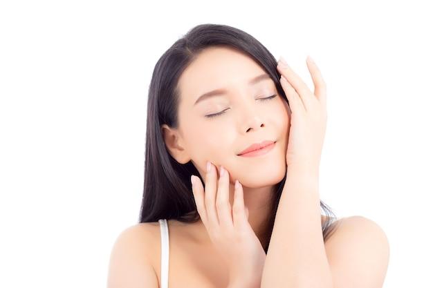 Retrato de la hermosa mujer asiática maquillaje de cosméticos
