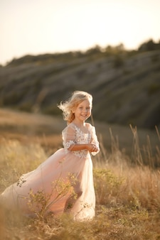 Retrato de una hermosa niña princesa en un vestido rosa. posando en un campo al atardecer