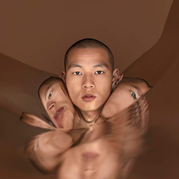 Retrato de hombre con imagen de distorsión