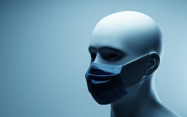 Retrato, de, hombre, llevando, máscara protectora