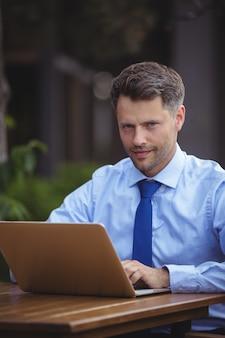 Retrato de hombre de negocios guapo usando laptop