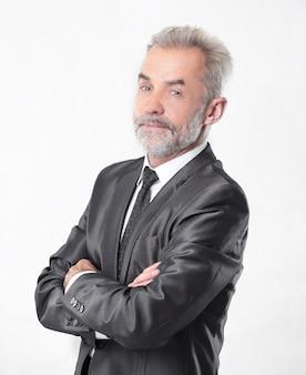 Retrato de un hombre de negocios serio. aislado sobre fondo gris.
