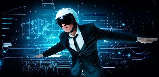 Retrato de un hombre con traje y casco. muestra que está volando en el contexto de un holograma futurista. concepto de negocio. tecnologías de internet.