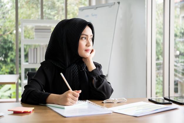 Retrato inteligente hermosa empresaria musulmana asiática que trabaja en la oficina, diversidad cultural y género.