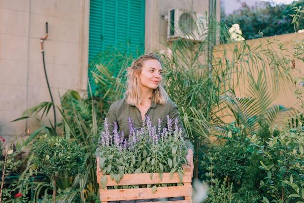 Retrato de un jardinero de sexo femenino que sostiene el cajón de madera de flores de la lavanda