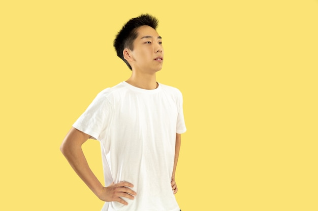 Retrato de joven coreano. modelo masculino en camisa blanca. de pie y mirando. concepto de emociones humanas, expresión facial. vista frontal. colores de moda.