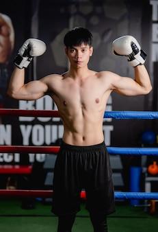 Retrato de joven guapo en guantes de boxeo blancos pose de pie sobre lienzo en el gimnasio, levanta los brazos hacia arriba para mostrar el músculo perfecto, clase de boxeo de entrenamiento de hombre sano,