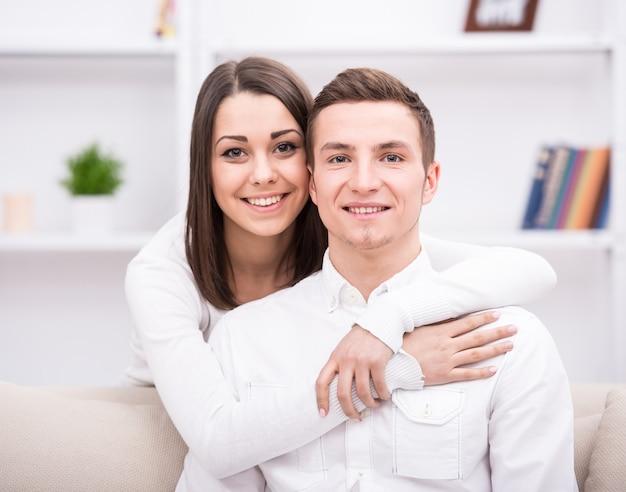 Retrato de joven pareja hermosa