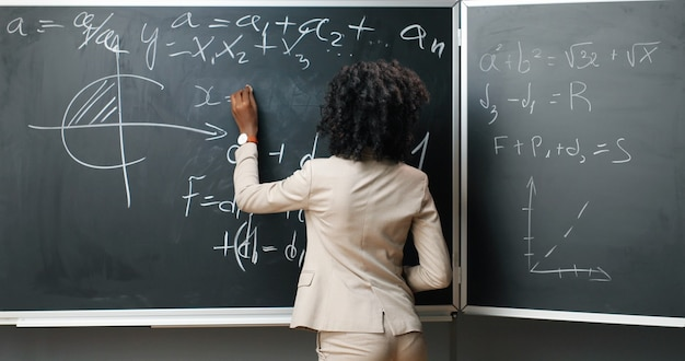 Retrato de joven profesora afroamericana en gafas de pie en el tablero, escribiendo con tiza matemáticas o leyes y fórmulas de la física y sonriendo a la cámara en clase. concepto de educación.