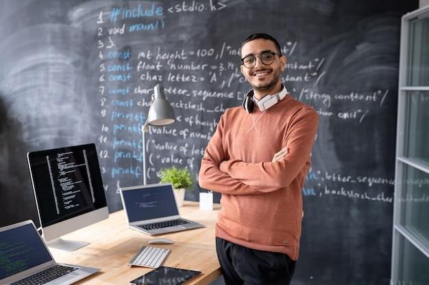 Retrato de joven programador informático de oriente medio satisfecho con auriculares alrededor del cuello de pie con los brazos cruzados en el estudio de codificación