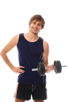 Retrato joven sosteniendo una pesa