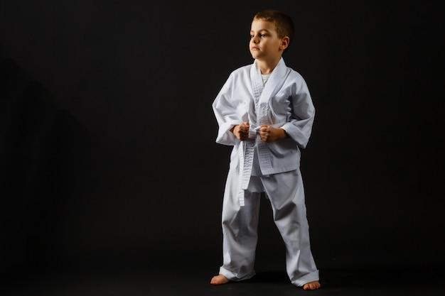 Retrato de karate de entrenamiento de niño pequeño aislado en gris