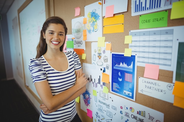 Retrato de mujer ejecutiva de pie con los brazos cruzados cerca del tablón de anuncios