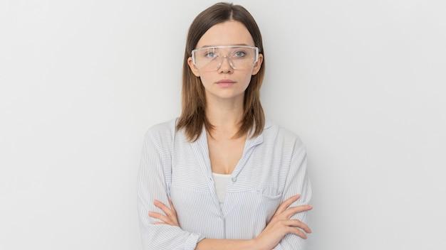 Retrato, de, mujer joven, científico