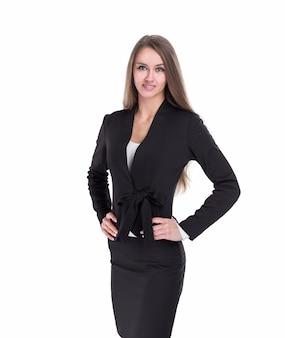 Retrato de mujer de negocios segura. aislado sobre fondo blanco