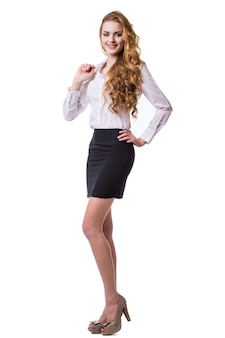 Retrato de mujer de negocios sonriente, aislado sobre fondo blanco.
