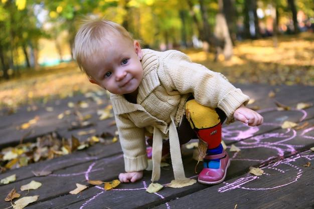Retrato de niña adorable caminando solo en el parque otoño