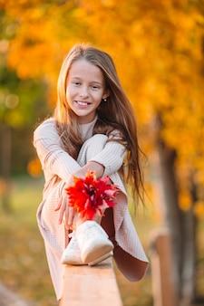 Retrato de niña adorable con ramo de hojas amarillas en otoño