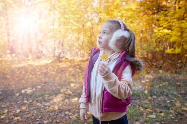 Retrato de una niña en un parque de otoño en un día soleado