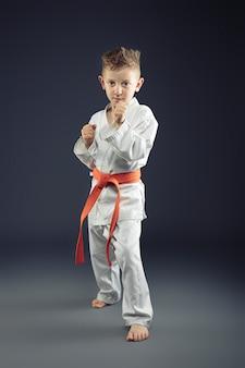 Retrato de un niño con kimono practicando artes marciales.