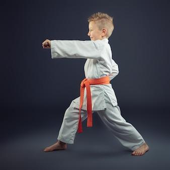 Retrato de un niño con un kimono practicando karate.