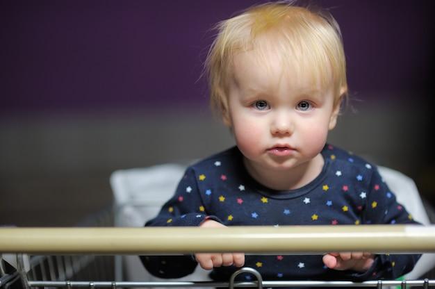 Retrato de niño pequeño en el carrito de compras