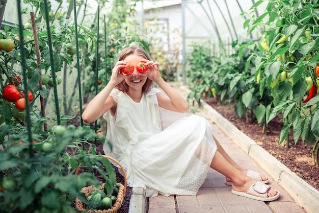 Retrato de niño con el tomate grande en manos en invernadero