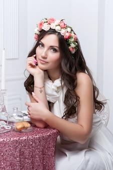 Retrato de la novia hermosa.