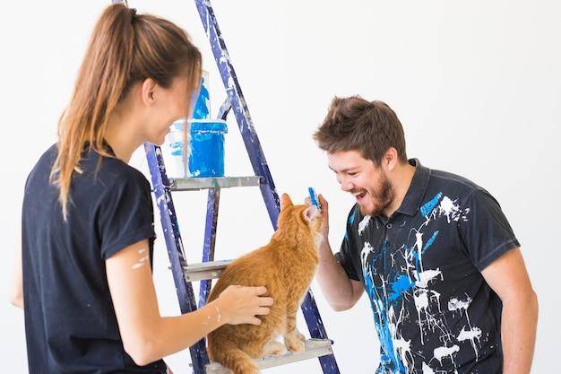 Retrato, de, pareja, con, gato, pintura