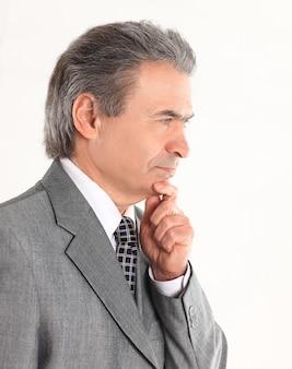 Retrato, de, pensativo, hombre de negocios, blanco, fondo., foto, con, espacio de copia