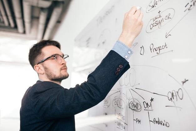 Retrato de primer plano de un joven de pelo oscuro con gafas escribiendo un plan de negocios en la pizarra. viste camisa azul y chaqueta oscura. vista lateral, foco en la mano.