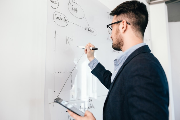 Retrato de primer plano de oung hombre de pelo oscuro con gafas con portátil escribiendo un plan de negocios en la pizarra. viste camisa azul y chaqueta oscura. vista lateral.